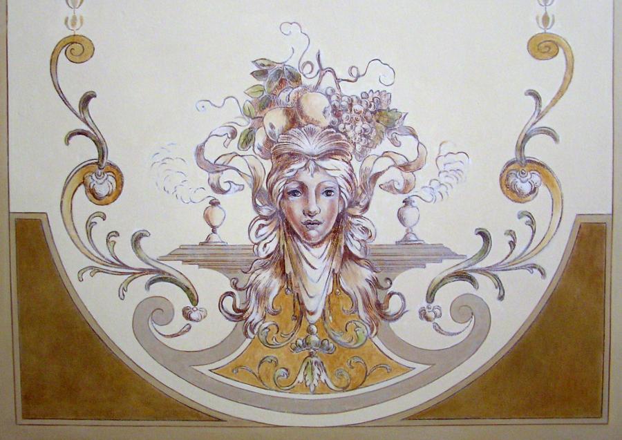 Deckenmalerei im Foyer - Allegorie des Herbstes, um 1880