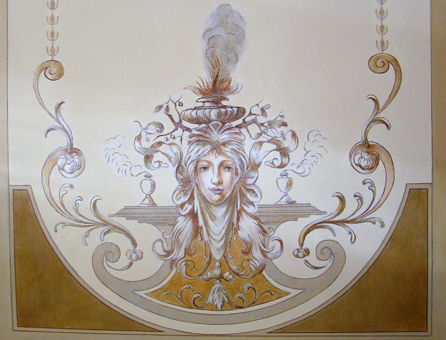 Deckenmalerei im Foyer - Allegorie des Winters, um 1880