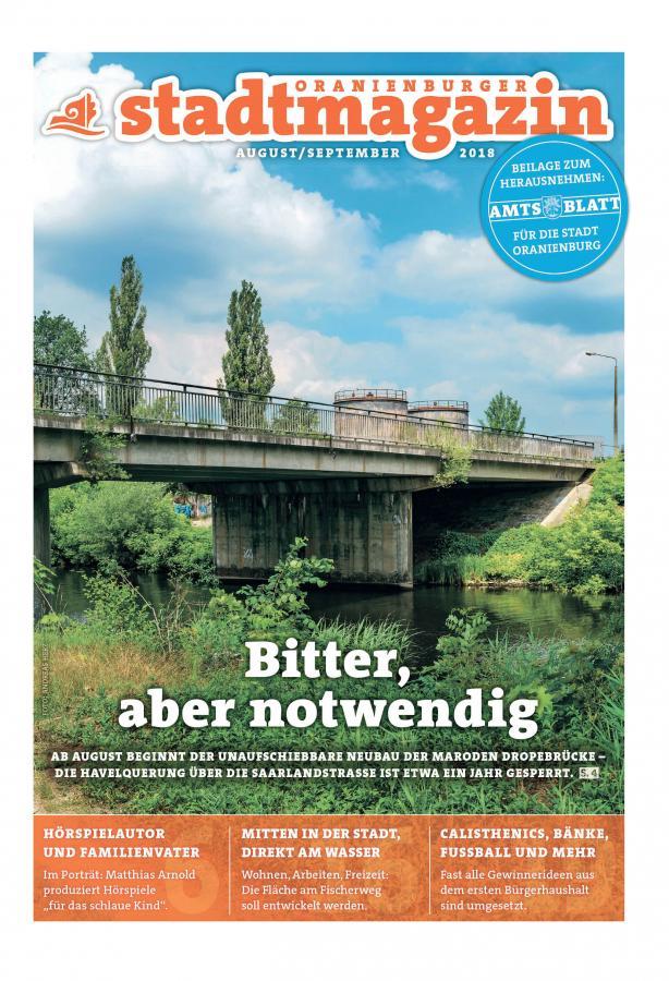 Oranienburger Stadtmagazin August September Titel