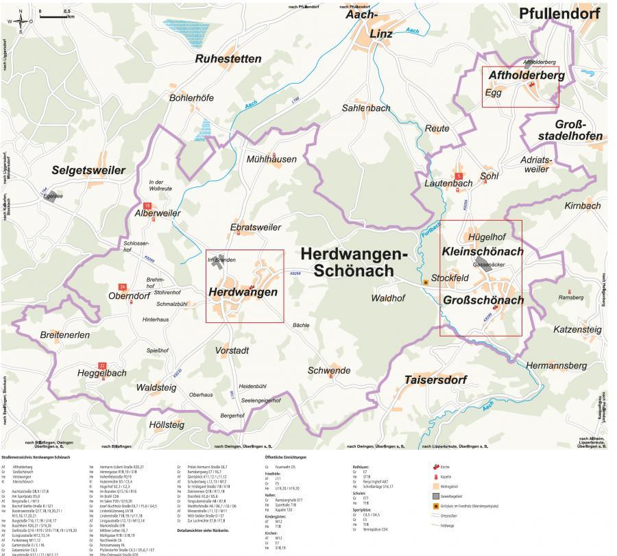 Ortsplan Herdwangen-Schönach