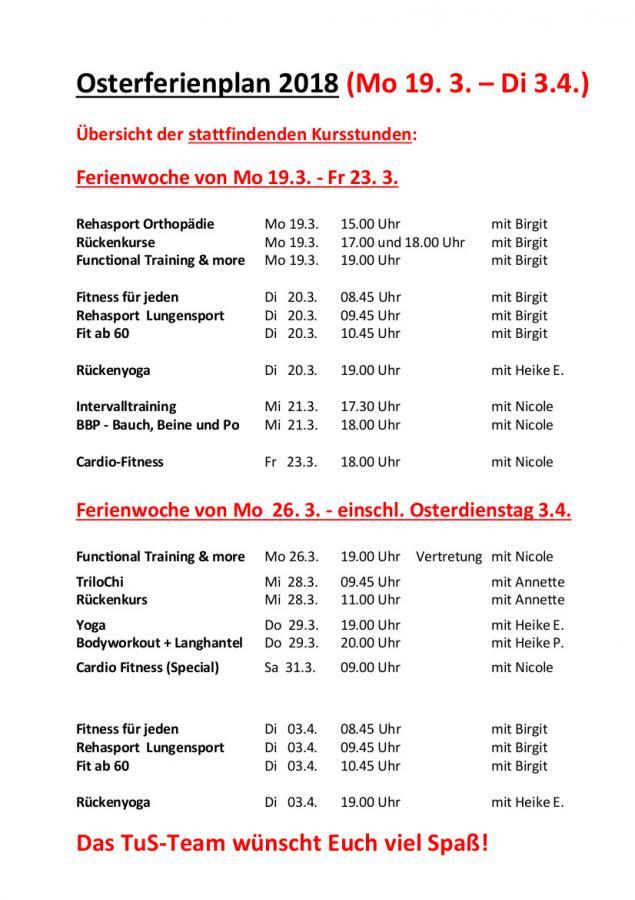 Osterferienplan 2018
