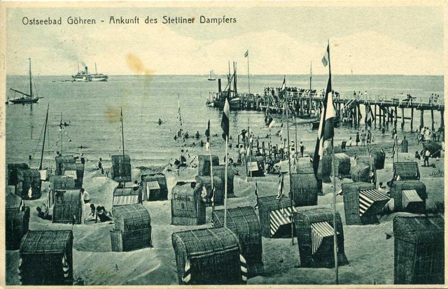 Ostseebad Göhren Ankunft des Stettiner Dampfers 1926