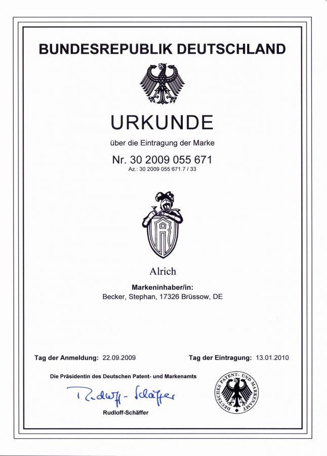 Patentanmeldung Alrich 2009, ©Stephan Becker, Brüssow