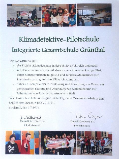 IGS GRünthal Stralsund - Pilotschule Klimadetektive