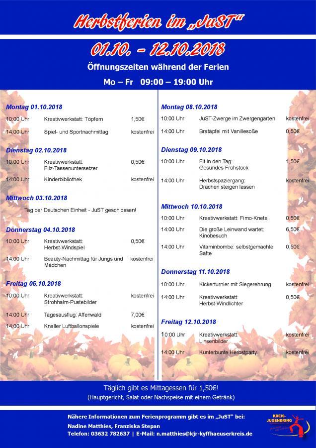 Herbstferienprogramm im JuST
