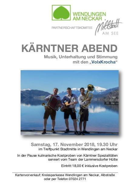 Plakat Kärntner Abend 2018