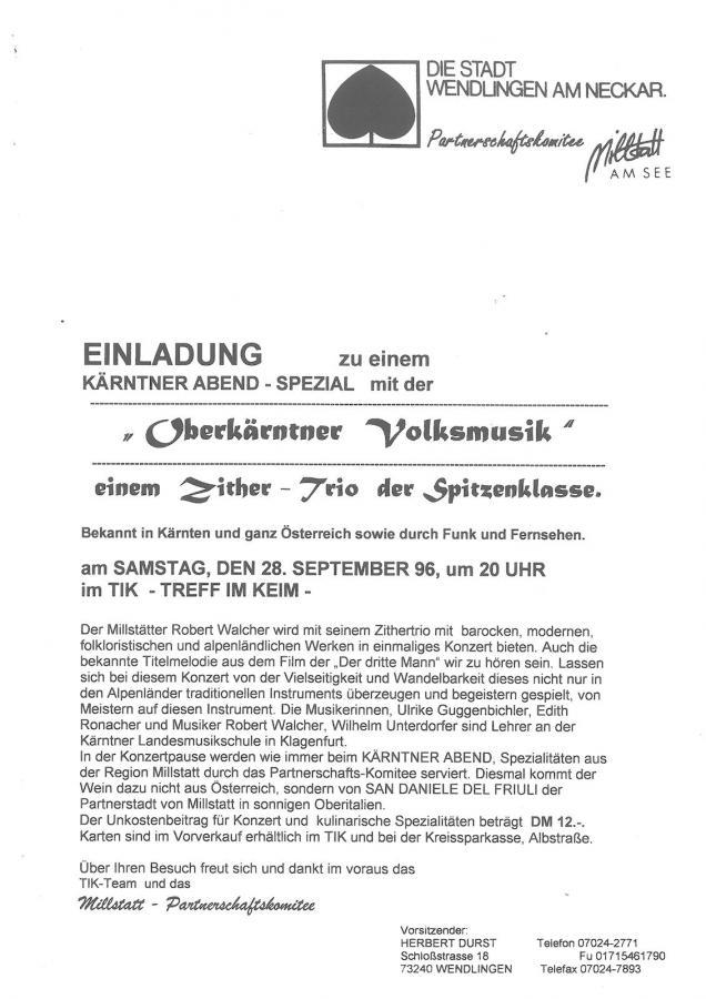 Plakat Kärntner Abend 28-09-1996