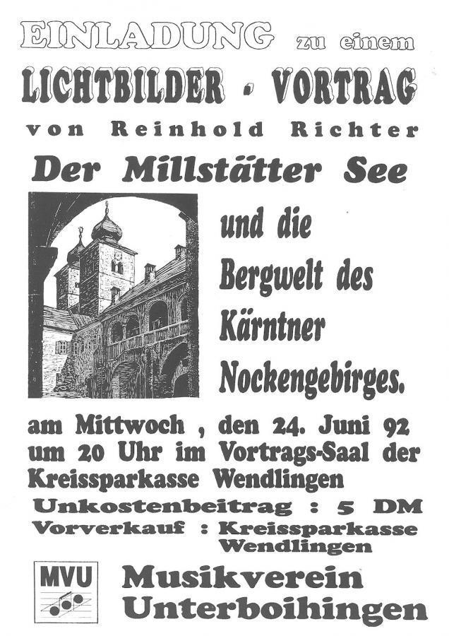 Plakat Lichtbildervortrag in Wendlingen 24-06-1992