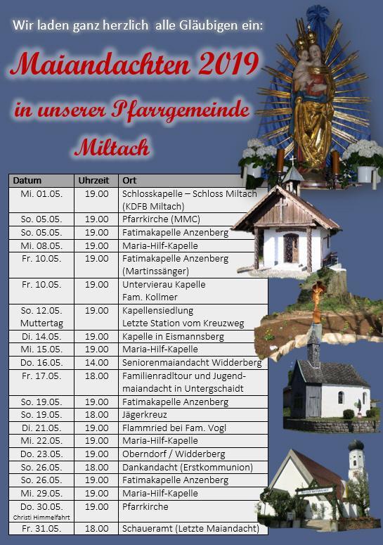 Maiandachten Miltach 2019