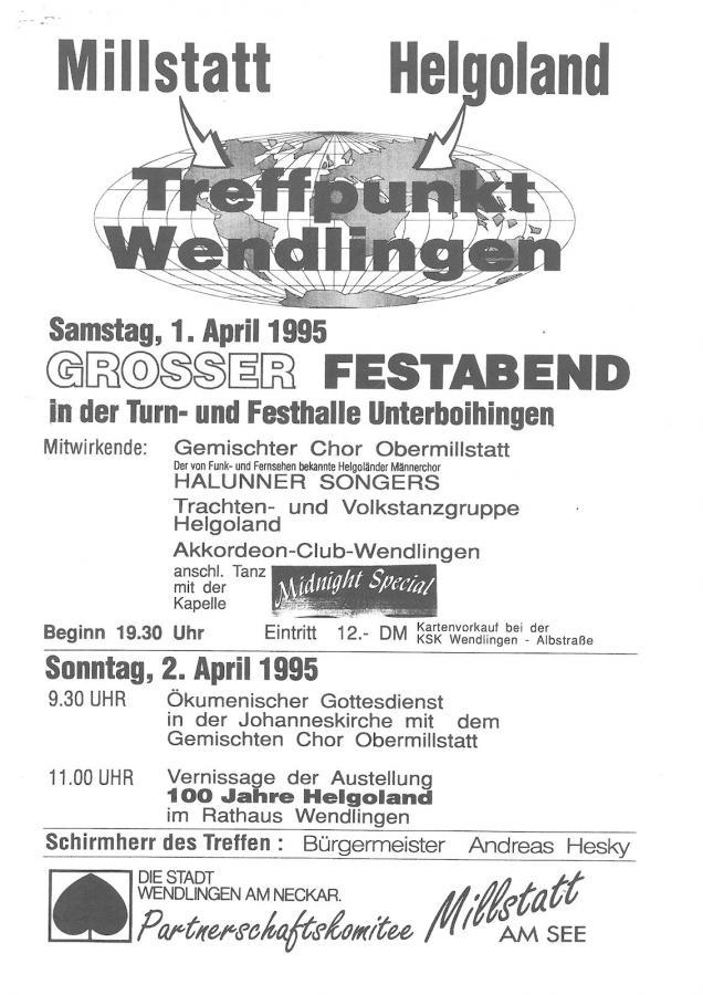 Plakat Millstatt Helgoland in Wendlingen 01 und 02-04-1995
