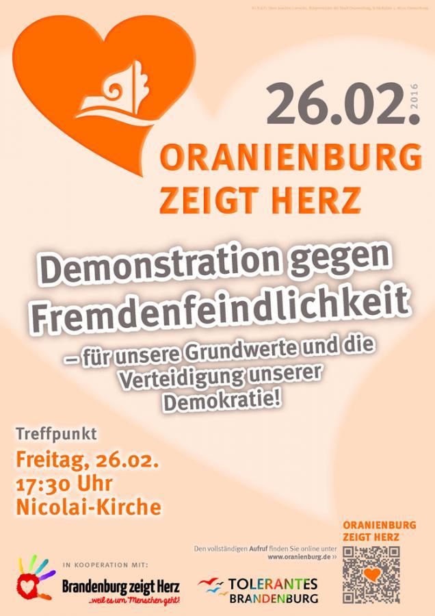 »Oranienburg zeigt Herz« – Demo am 26.02.2016 (Plakat)