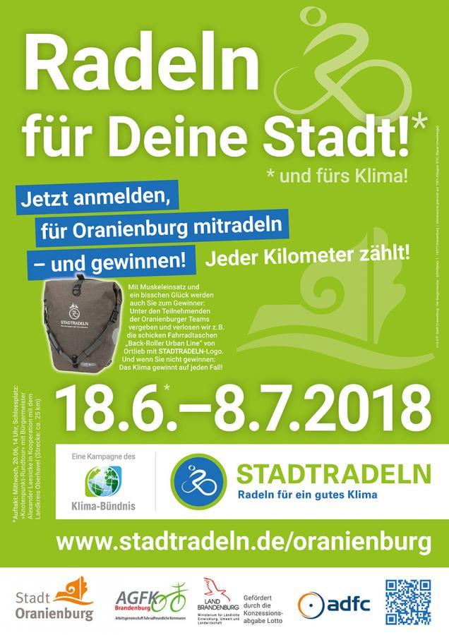 Das Plakat zum STADTRADELN 2018 in Oranienburg ...