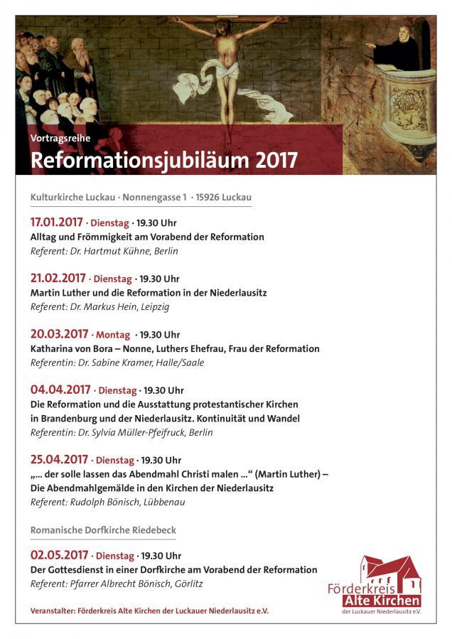 Vortragsreihe Reformationsjubiläum