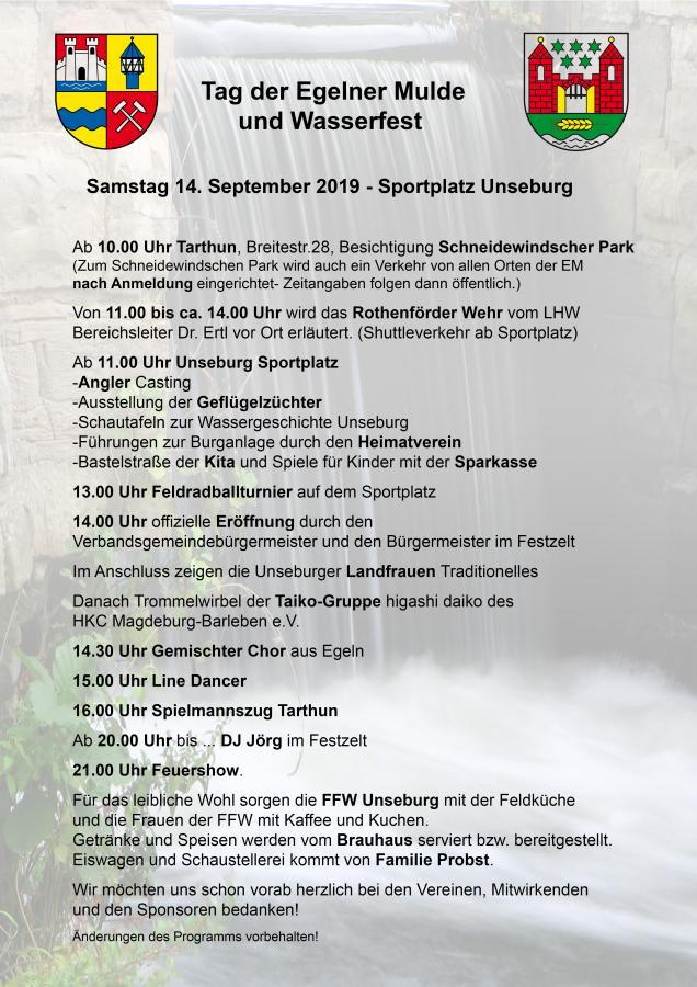 Plakat Wasserfest und Tag der EM am 14.09.2019
