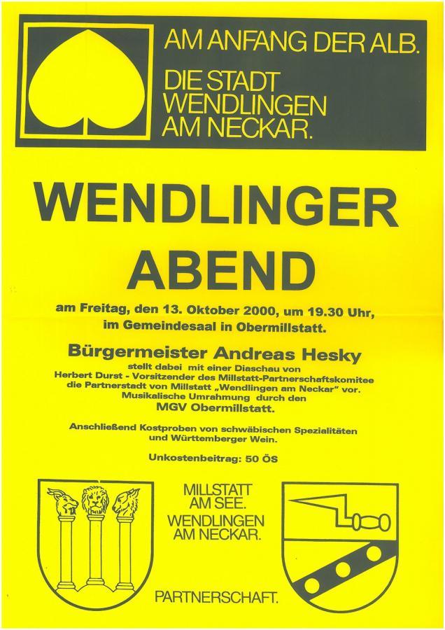 Plakat Wendlinger Abend 13-10-2000