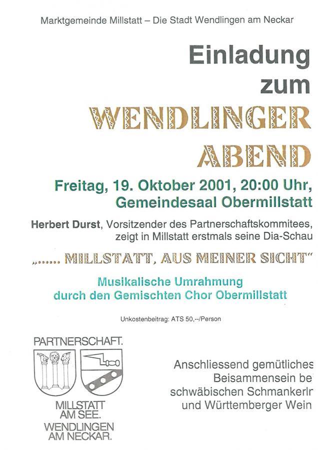 Plakat Wendlinger Abend 19-10-2001