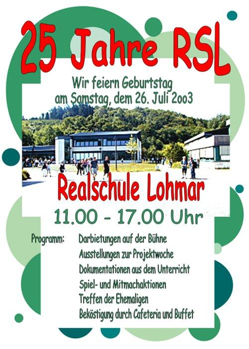 25 Jahre RSL Plakat Schulfest