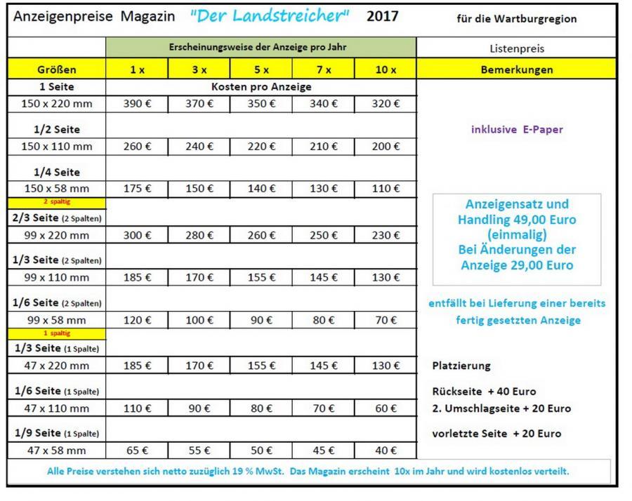 Preisliste Landstreicher 2017