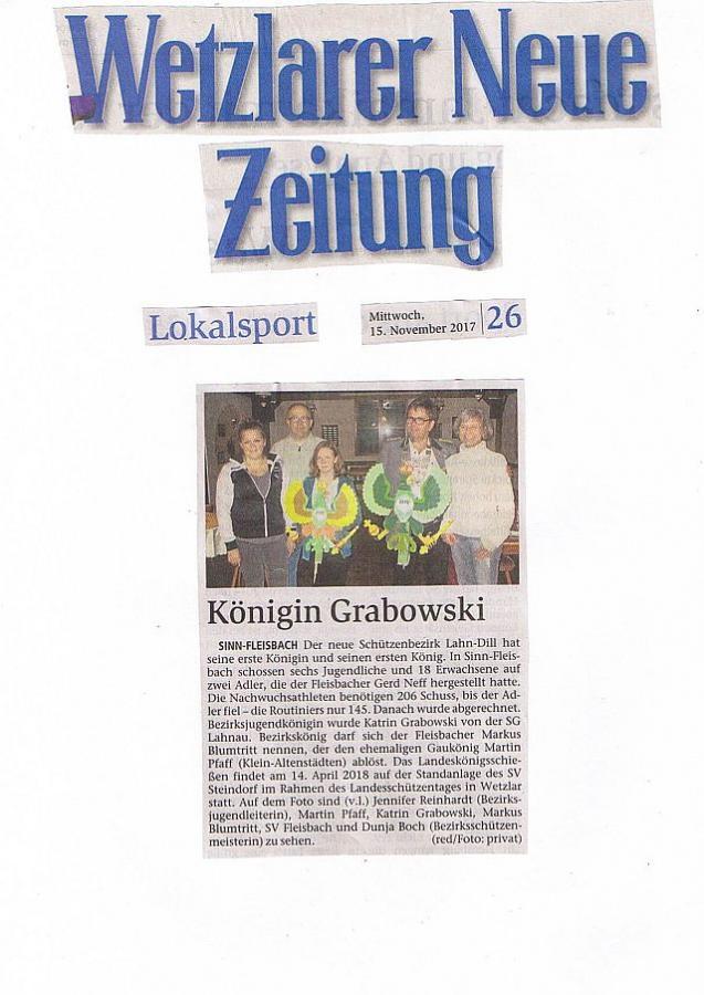 Pressebericht Lokalpresse vom 15.11.17 Bezirkskönigsschiessen