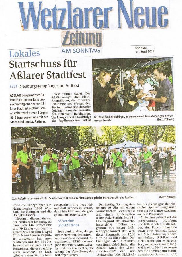 Startschuss zum Asslarer Stadtfest vom 11.06.2017