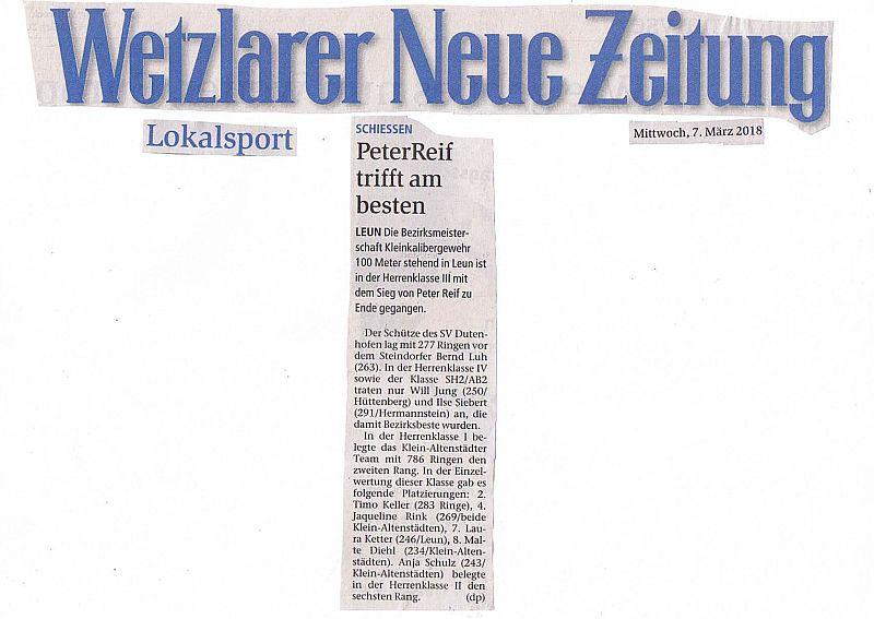 Pressebericht WNZ vom 07.03.2018, Bezirksmeisterschaft LG 100 m in Leun