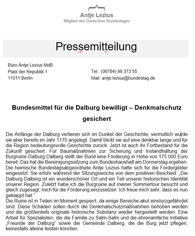 175.000 € Pressemitteilung Lezius
