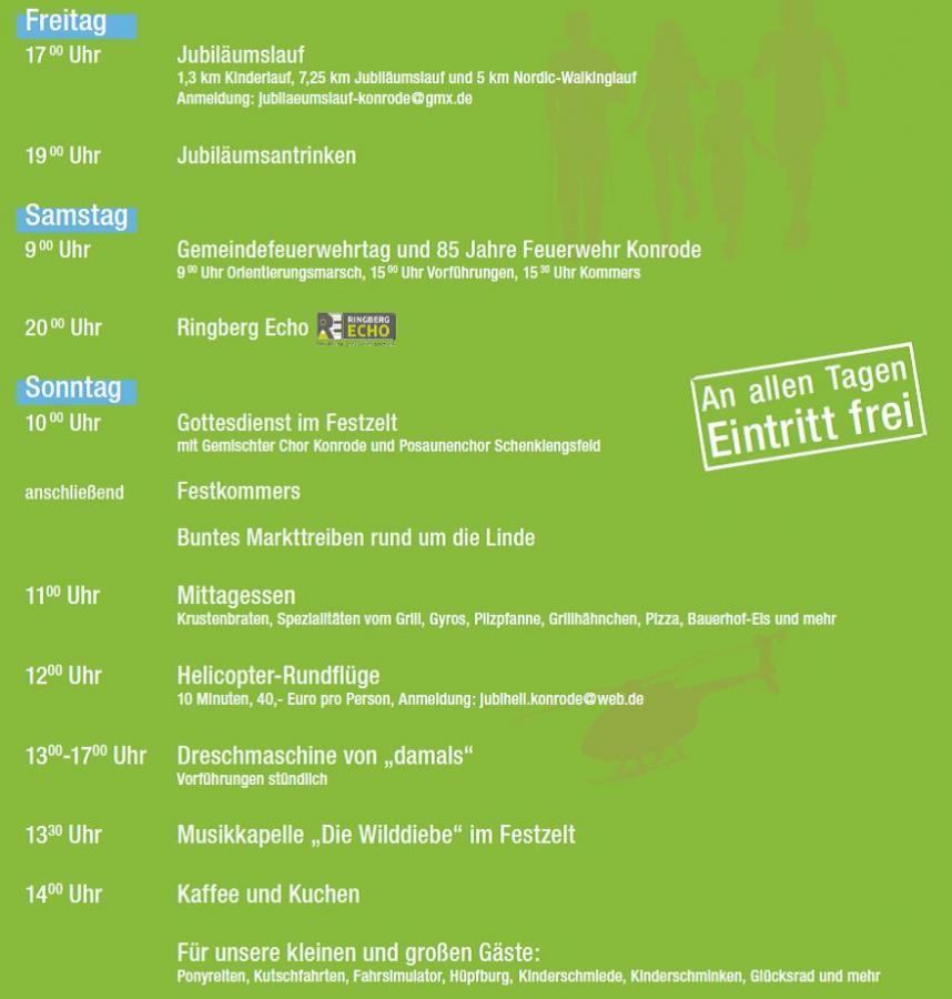 Programm der Jahrfeier in Konrode vom 02. bis 04. Juni 2017