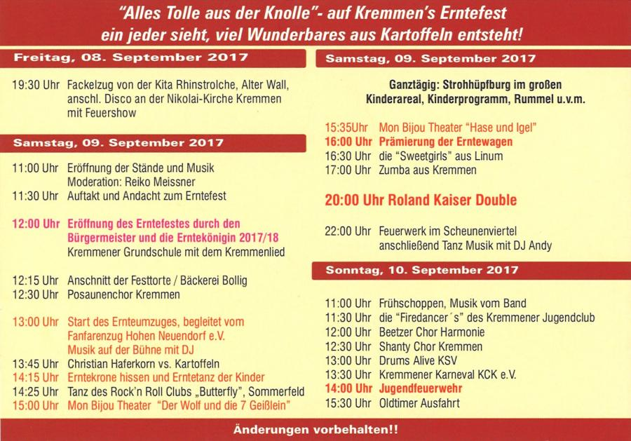 Programm Erntefest Kremmen 2017