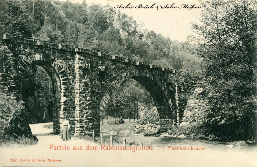 Parthie aus dem Rabenauergrunde  Eisenbahnbrücke