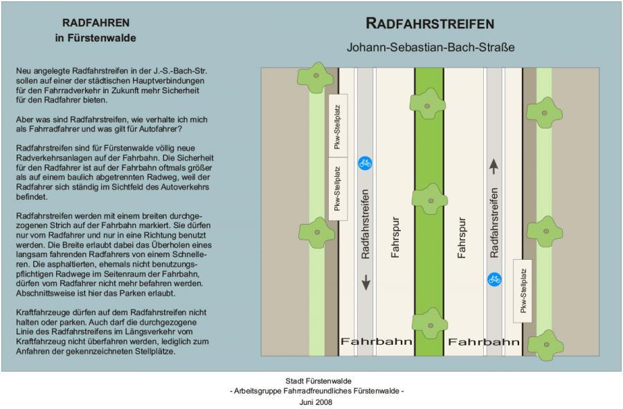 Radfahrstreifen in der Johann-Sebastian-Bach-Straße