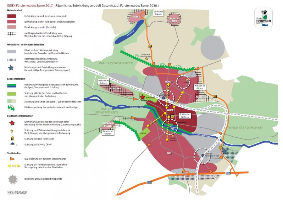 Räumliches Entwicklungsmodell Gesamtstadt, Stand: 02.05.2017