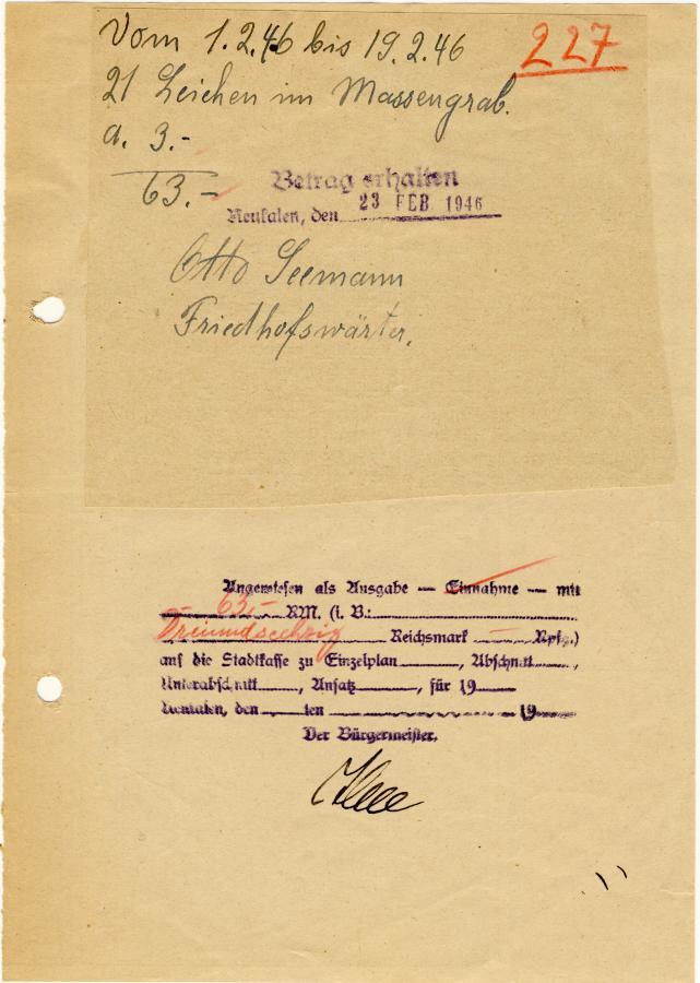 Beleg vom Friedhofswärter Otto Seemann