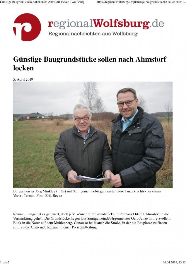 Bericht bei regionalwolfsburg.de vom 05.04.2019_Teil 1