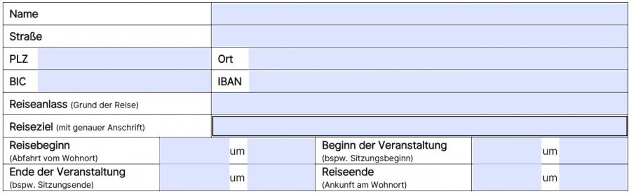Reisekostenabrechnung, 2. Ausfüllblock