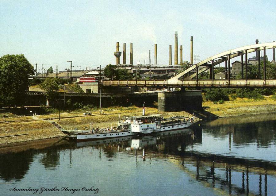 Riesa  Blick zum Stahl- und Walzwerk