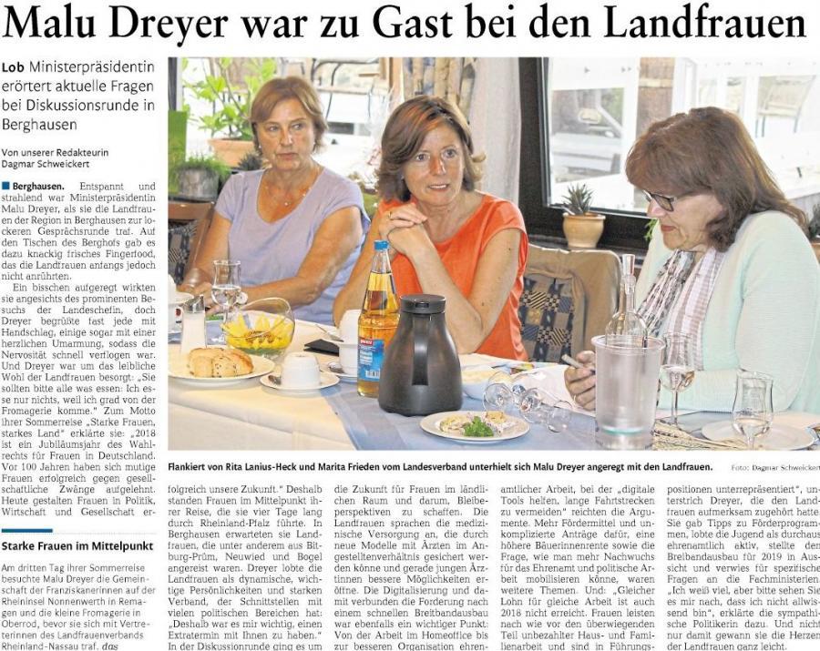 Ministerpräsidentin zu Gast im Rhein-Lahn-Kreis