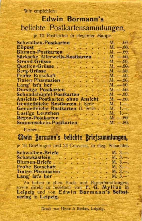 Rückseite Edwin Bormann