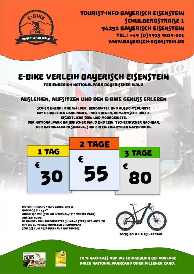 E-Bike Verleih Bayerisch Eisenstein Plakat 2019