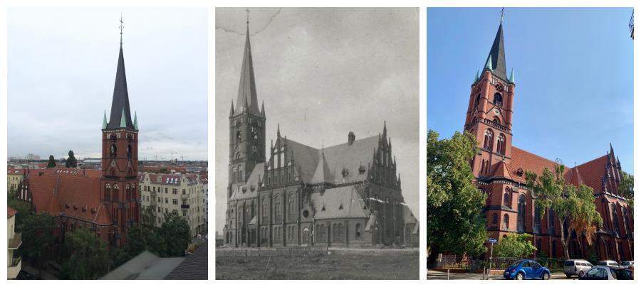 Samariterkirche Collage - Bild Mitte: im Bau um 1893 (?)