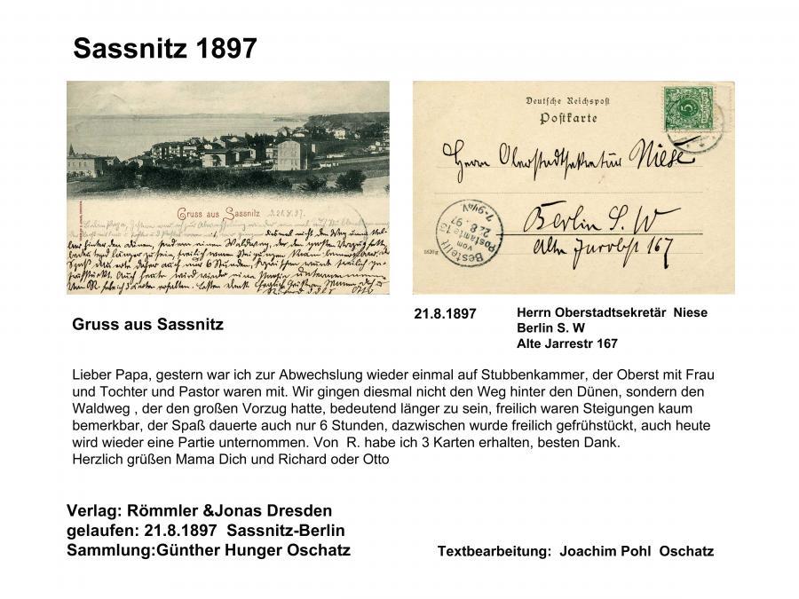 Sassnitz 1897 Gruss aus