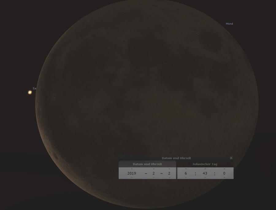 Saturn bedeckt den Mond am 02.02.2019