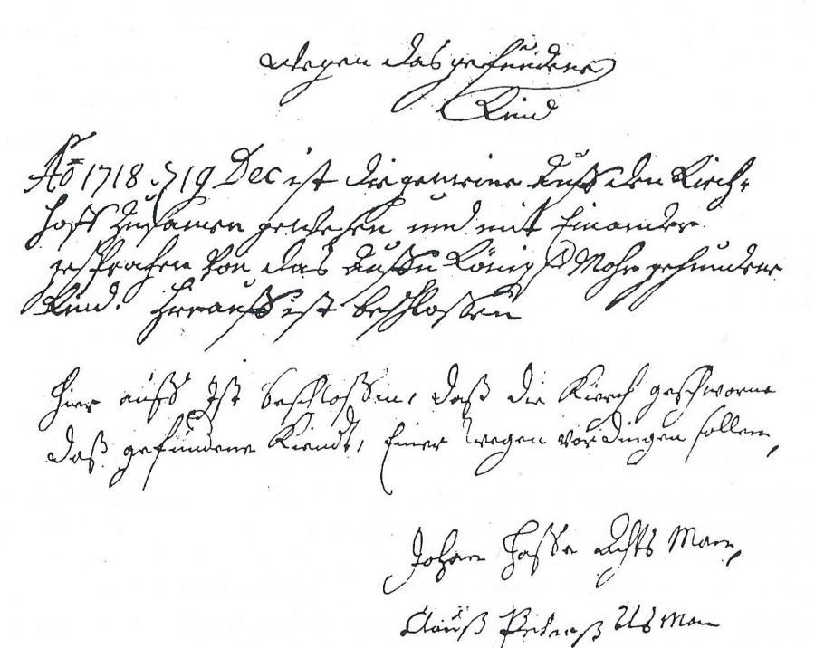 Urkunde aus dem Archiv der Chronik von Kiebitzreihe