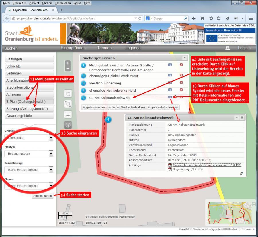 Schaubild: Bebauungspläne und Satzungen im Geoportal aufrufen