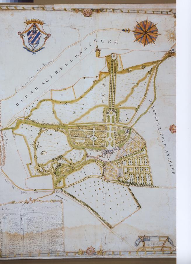 Joseph Mantel, Plan des Dieburger Schlossgartens der Familie Groschlag von Dieburg, 1789