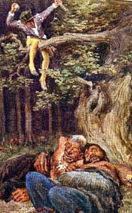 Das tapfere Schneiderlein überlistet die Riesen - Bildpostkarte 19. Jh.