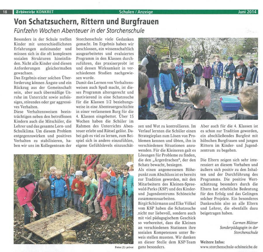 2014-06 Schöneiche Konkret: Von Schatzsuchern, Rittern und Burgfrauen