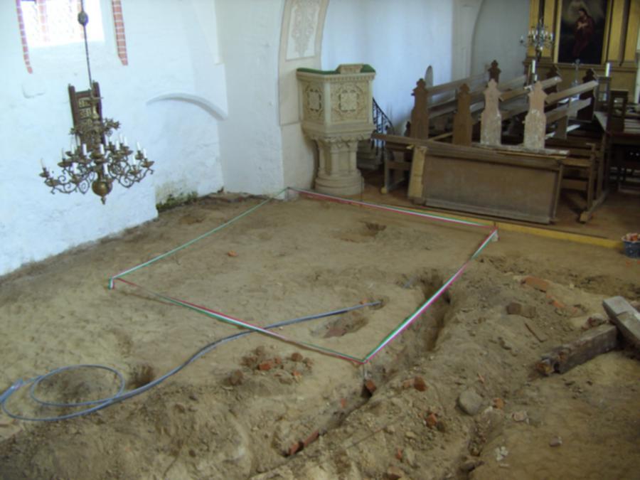 Lage der Gruft in der Schorrentiner Kirche