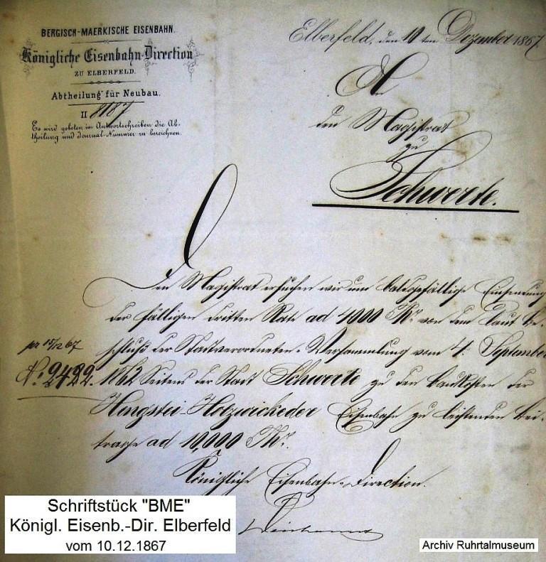 Schriftstück von 1867