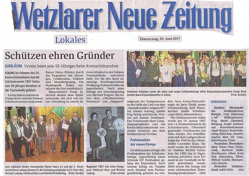 Schützenverein ehrt Gründer vom 29.06.2017