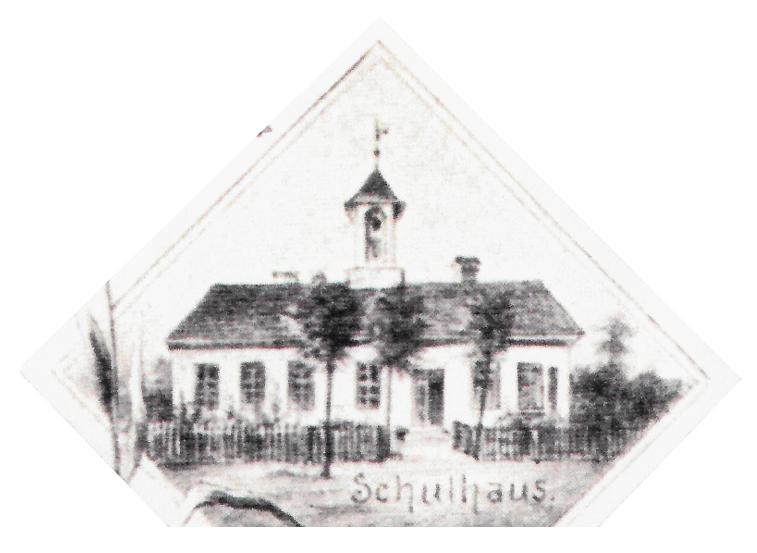 weißes Schulhaus um 1890